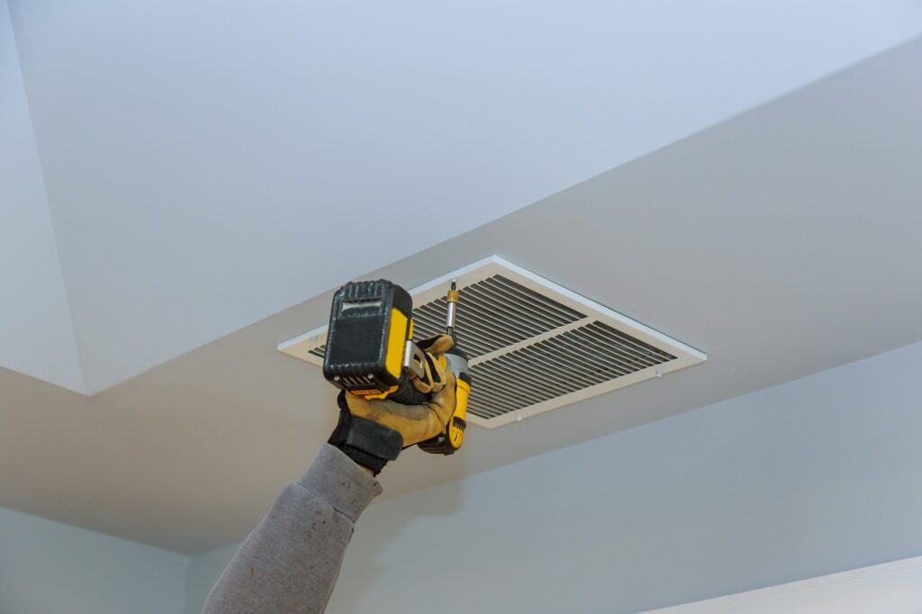 Installation of ceiling HVAC ventilation hole from ventilation skin cover